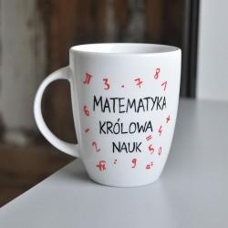 Elegancki prezent dla nauczyciela matematyki. Kubek Królowa nauk matematyka. Dla nauczyciela matematyki. Dedykacja.
