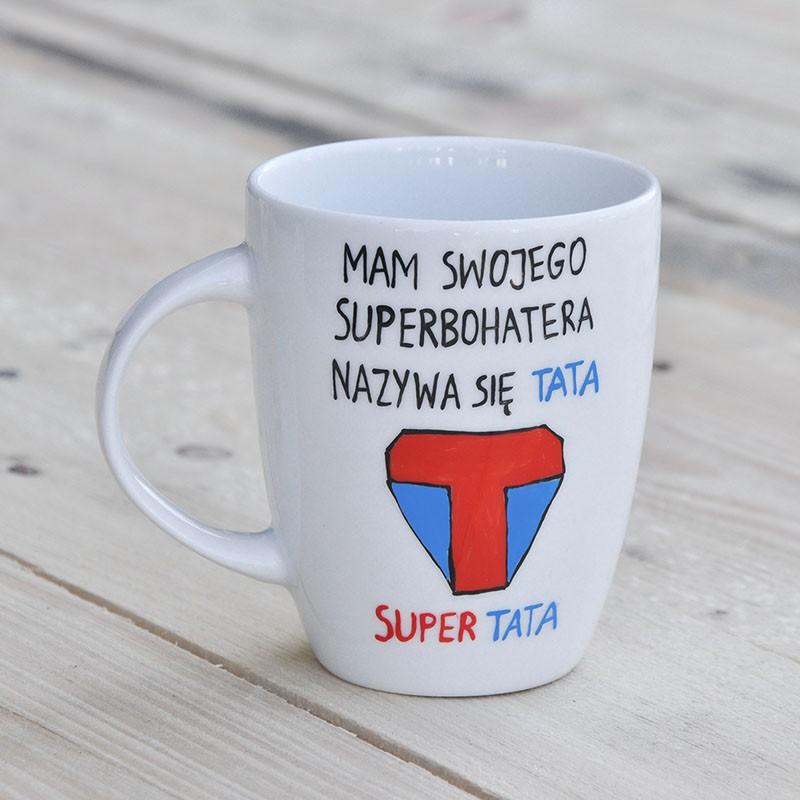 Kubek Super Tata. Prezent dla Taty. Kubek z dedykacją. Ręcznie malowana porcelana.