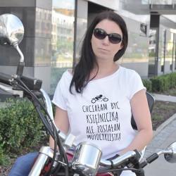 """Koszulka, biały T-shirt oversize """"Motocyklistka"""", koszulka motocyklowa z napisem."""