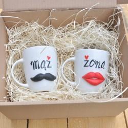 Prezent ślubny - Kubek 3D żona i mąż. Trójwymiarowe wąsy i usta