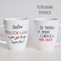 """Kubek nauczycielki przedszkola, pani przedszkolanki """"Super Moc""""."""