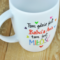 """Kubek Babci z napisem. Imienny. """"Miłość."""" Dzień Babci."""