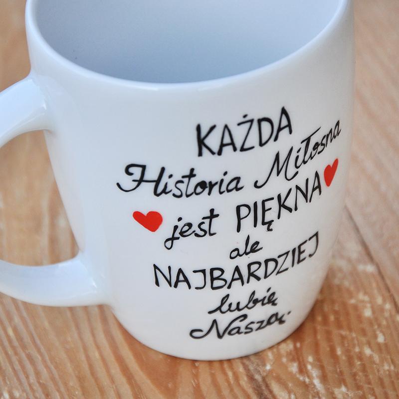 """Kubek walentynkowy Kubek z romantycznym napisem """"Historie Miłosne"""". Walentynki."""