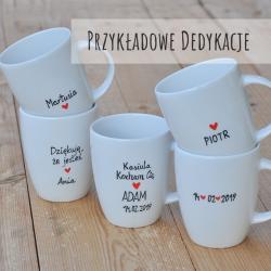 """Kubek z fanjnym napisem """"Dzień dobry. Kocham Cię :*"""". Walentynki."""