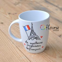 kubek nauczyciela języka francuskiego wieża Eiffla, flaga Francji Kubek życzenia dla nauczyciela. Indywidualny projekt 300ml