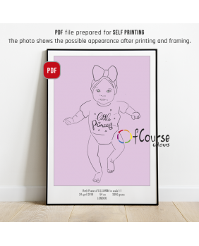 Custom Birth Poster scale, Baby line art, Birth print, Newborn gift, New parents gift, First birthday, Baptism gift DIGITAL BIRTH POSTER, Custom Portrait Hand Drawn From Picture, In Scale 1:1, , line art, SELF PRINTABLE FILE