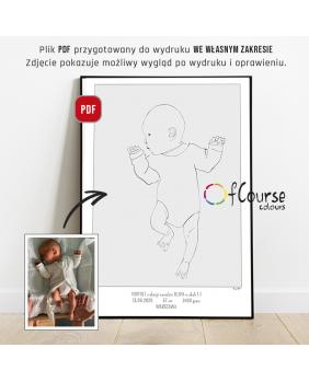 Plakat urodzeniowy, portret dziecka, metryczka w skali 1:1 minimal art, styl skandynawski