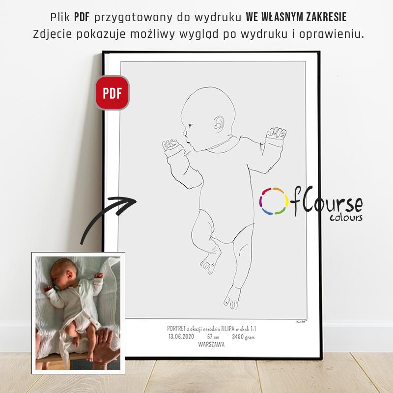 Plakat urodzeniowy, portret dziecka, metryczka w skali 1:1 minimal art, styl skandynawski Portret z okazji narodzin dziecka, w naturalnej wielkości z dnia urodzin - plik do samodzielnego druku, metryczka