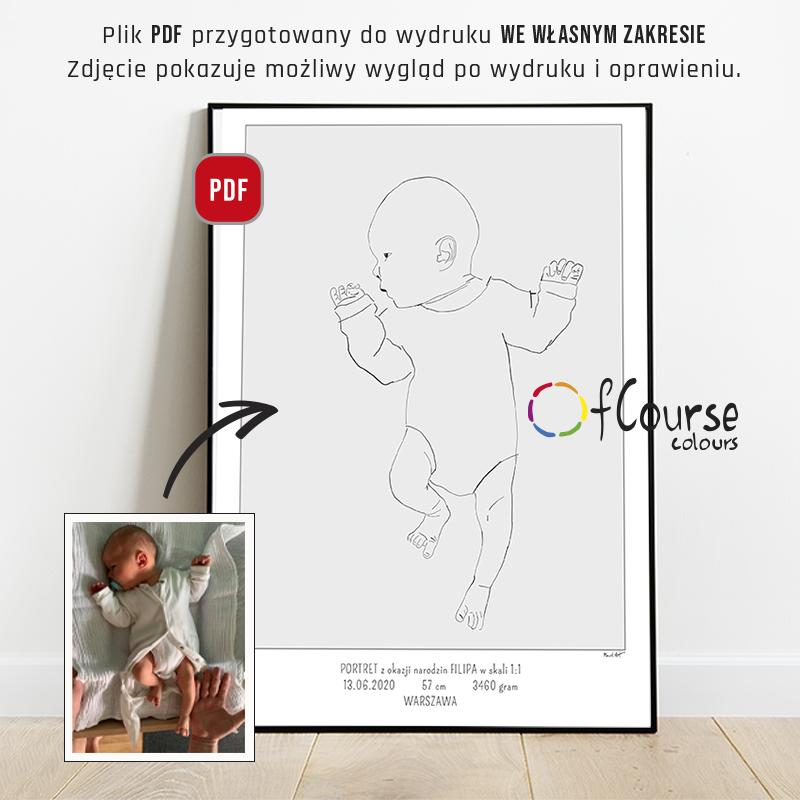 the birth portrait poster scale 1:1 custom baby portrait DIGITAL BIRTH POSTER, Custom Portrait Hand Drawn From Picture, In Scale 1:1, , line art, SELF PRINTABLE FILE