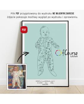 plakat urodzeniowy dziecka, portret w skali 1:1, portret dziecka ze zdjęcia, prezent na chrzest prezent na 1 urodziny Portret z okazji narodzin dziecka, w naturalnej wielkości z dnia urodzin - plik do samodzielnego druku, metryczka
