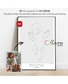 Portret z okazji narodzin dziecka, w naturalnej wielkości z dnia urodzin - plik do samodzielnego druku, metryczka
