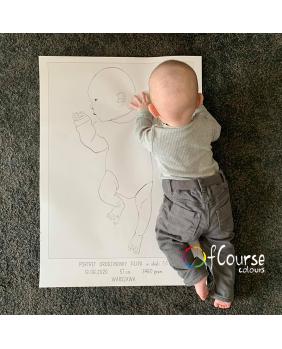 portret, plakat urodzeniowy dziecka Portret z okazji narodzin dziecka, w naturalnej wielkości z dnia urodzin - plik do samodzielnego druku, metryczka