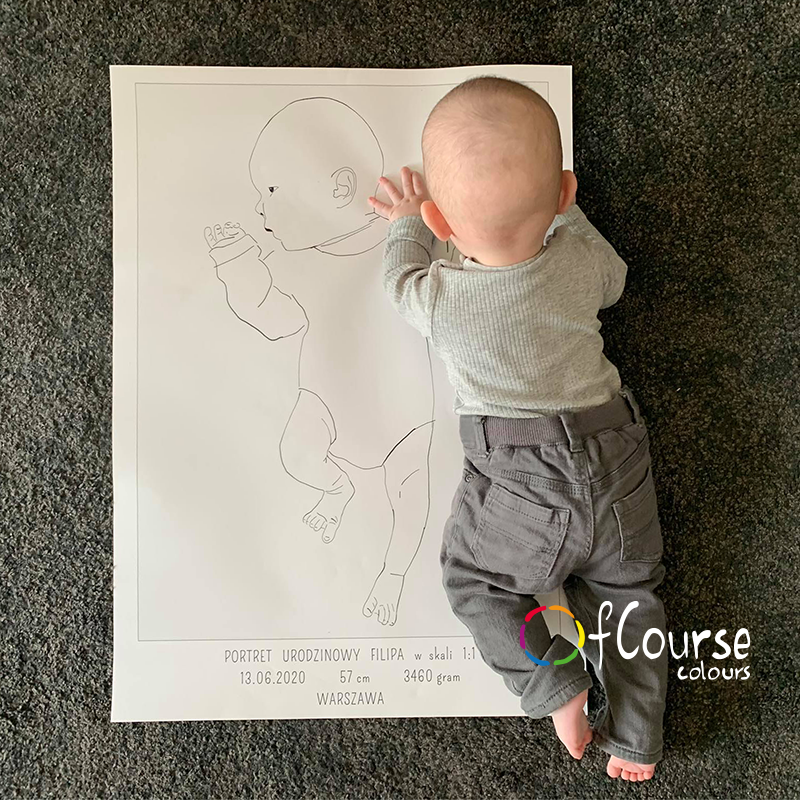 the birth portrait poster scale 1:1 custom baby portrait baptism gift, newborn gift scale 1:1 copy of DIGITAL BIRTH POSTER, Custom Portrait Hand Drawn From Picture, In Scale 1:1, , line art, SELF PRINTABLE FILE