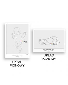 plakat urodzeniowy portret dziecka w skali 1:1 Metryczka Portret z dnia narodzin dziecka, w skali 1:1 - wydrukowany plakat bez ramki