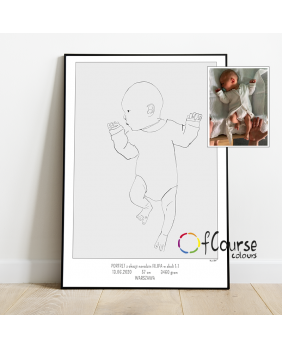 Portret urodzeniowy dziecka w skali 1:1 na postawie zdjęcia Metryczka Portret z dnia narodzin dziecka, w skali 1:1 - wydrukowany plakat bez ramki