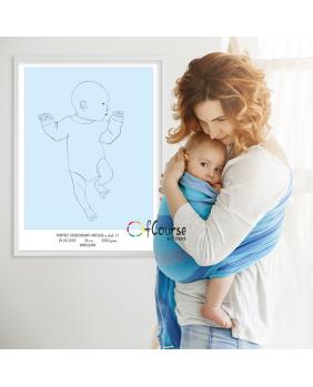 prezent z okazji narodzin dziecka dekoracja do pokoju dziecka Metryczka Portret z dnia narodzin dziecka, w skali 1:1 - wydrukowany plakat bez ramki