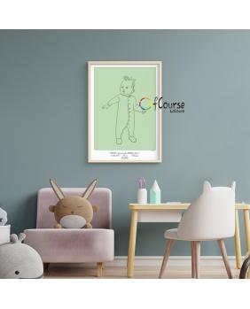 portret dziecka Metryczka Portret z dnia narodzin dziecka, w skali 1:1 - wydrukowany plakat bez ramki