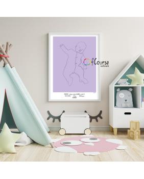 odcisk rączki, pamiątka dziecka Metryczka Portret z dnia narodzin dziecka, w skali 1:1 - wydrukowany plakat bez ramki