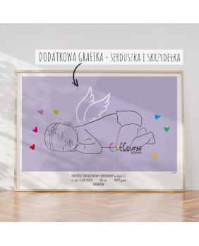 portret dziecka śpiący aniołek w skali 1:1 Metryczka Portret z dnia narodzin dziecka, w skali 1:1 - wydrukowany plakat bez ramki