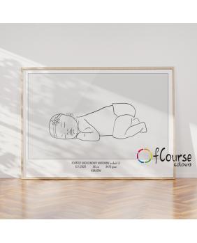 Portret urodzeniowy dziecka w skali 1:1 na postawie zdjęcia nowoczesny plakat styl skandynawski Metryczka Portret z dnia narodzin dziecka, w skali 1:1 - wydrukowany plakat bez ramki