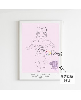 portret dziecka rysowany ze zdjęcia Metryczka Portret z dnia narodzin dziecka, w skali 1:1 - wydrukowany plakat bez ramki