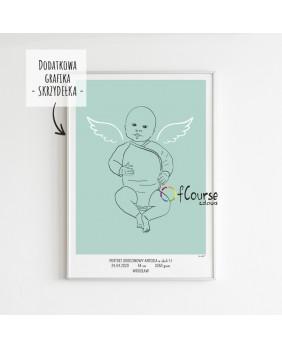 portret, plakat urodzeniowy dziecka, dekoracja do pokoju dziecka, nowoczesny plakat prezent na chrzest Metryczka Portret z dnia narodzin dziecka, w skali 1:1 - wydrukowany plakat bez ramki