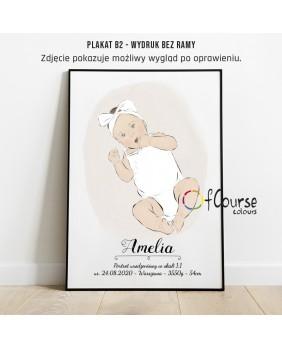 Prezent z okazji narodzin lub chrzest. Grafika, plakat, metryczka, dzidziusia, Twojego maleństwa, Grafika, metryczka dziecka z portretem z dnia urodzenia w naturalnej wielkości.