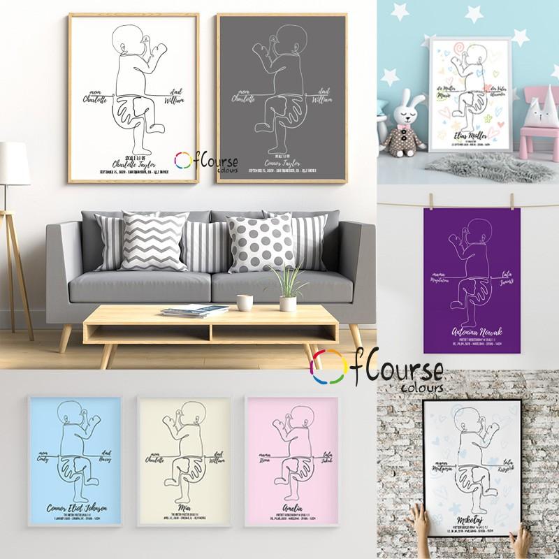 Metryczka, plakat personalizowany, portret urodzeniowy w skali 1:1, dekoracja do pokoju dziecka. Metryczka, grafika dziecka w skali 1:1 z dnia narodzin.  Personalizowany plakat  50x70cm. 1 dziecko bokiem.