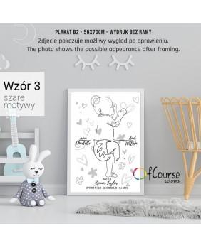 Metryczka dla dziecka, plakat urodzeniowy w skali 1:1, dekoracja do pokoju dziecka, szarości, nowoczesna dekoracja, imiędziecka Metryczka, grafika dziecka w skali 1:1 z dnia narodzin.  Personalizowany plakat  50x70cm. 1 dziecko bokiem.
