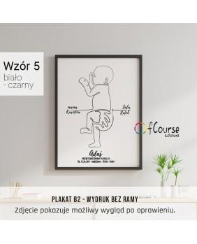 metryczka minimalistyczna, line art, biało czarna grafika, dekoracja do pokoju dziecka minimalizm styl skandynawski Metryczka, grafika dziecka w skali 1:1 z dnia narodzin.  Personalizowany plakat  50x70cm. 1 dziecko bokiem.
