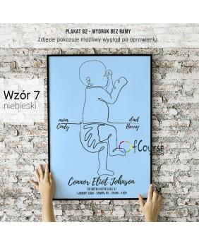 Metryczka dla chłopca, chłopiec, niebieski, dekoracja do pokoju chłopca, hand made Metryczka, grafika dziecka w skali 1:1 z dnia narodzin.  Personalizowany plakat  50x70cm. 1 dziecko bokiem.