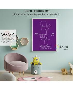 Metryczka dla dziecka, dekoracja do pokoju dziecka, ciemny fiolet, modne kolory do pokoju dziecka, prezent na chrzest Metryczka, grafika dziecka w skali 1:1 z dnia narodzin.  Personalizowany plakat  50x70cm. 1 dziecko bokiem.