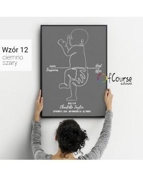 Metryczka czarno biała, szarości, dekoracja do pokoju dziecka minimalizm, prezent z okazji narodzin dziecka Metryczka, grafika dziecka w skali 1:1 z dnia narodzin.  Personalizowany plakat  50x70cm. 1 dziecko bokiem.