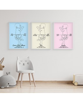 metryczki dla dzieci, dekoracje do pokoju dziecka, grafika liniowa, plakat w skali 1:1 Metryczka, grafika dziecka w skali 1:1 z dnia narodzin.  Personalizowany plakat  50x70cm. 1 dziecko bokiem.