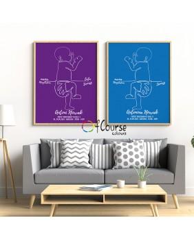 Nowoczesna metryczka, żywe kolory, prezent z okazji narodzin dziecka, modne kolory. Metryczka, grafika dziecka w skali 1:1 z dnia narodzin.  Personalizowany plakat  50x70cm. 1 dziecko bokiem.
