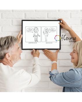 ilustracja, portret digital, prezent dla babci i dziadka line art