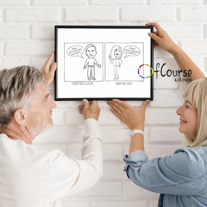 ilustracja, portret digital, prezent dla babci i dziadka line art Portret, komiks o Babci i Dziadku, rysowany ze zdjęcia, prezent na Dzień Babci i Dzaidka.