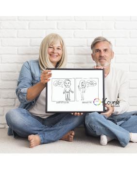 karykatura na podstawie zdjęcia Portret, komiks o Babci i Dziadku, rysowany ze zdjęcia, prezent na Dzień Babci i Dzaidka.