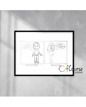 obrazek dla babci i dziadka, prezent dla babci i dziadka Portret, komiks o Babci i Dziadku, rysowany ze zdjęcia, prezent na Dzień Babci i Dzaidka.