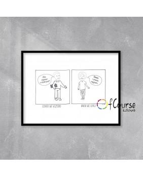 karykatura na podstawie zdjęcia, ilustracja, obrazek liniowy , line art Portret, komiks o Babci i Dziadku, rysowany ze zdjęcia, prezent na Dzień Babci i Dzaidka.