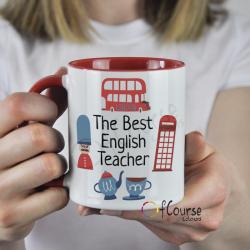 Kubek dla nauczyciela języka angielskiego. Czerwony kubek. The Best English Teacher. Symbole brytyjskie.