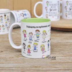 kubek z portretami i imionami dzieci prezent dla nauczyciela Kubek z portretem nauczyciela w otoczeniu dzieci. Imiona dzieci. Życzenia dla nauczyciela.
