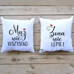 Dwie poduszki z nadrukiem dla męża i żony. Prezent ślubny lub na rocznicę.