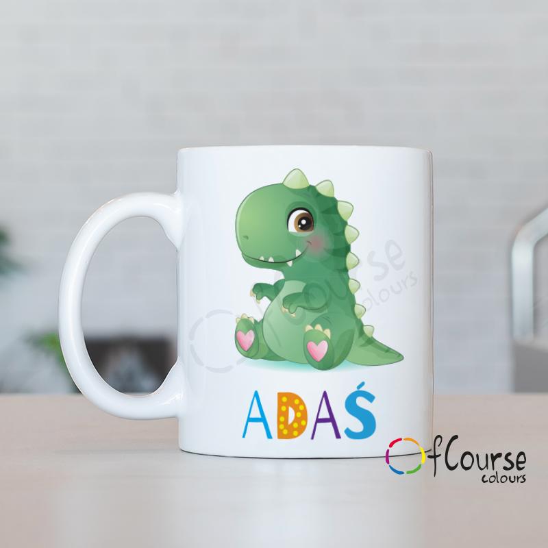 Kubek z dinozaurem i imieniem dziecka.